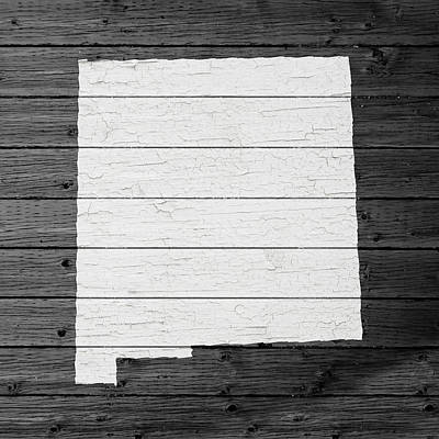 Map Of New Mexico State Outline White Distressed Paint On Reclaimed Wood Planks Poster by Design Turnpike