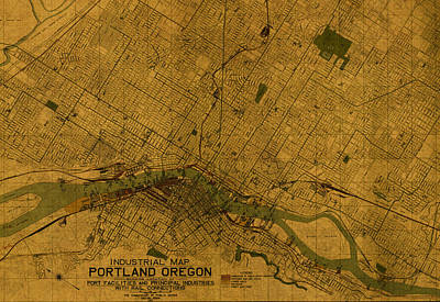Map Of Portland Oregon City Street Schematic Cartography Circa 1924 On Worn Parchment  Poster by Design Turnpike