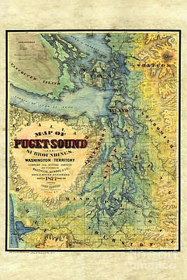 Map Of Puget Sound 1878 Poster by Lisa Middleton