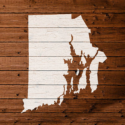 Map Of Rhode Island State Outline White Distressed Paint On Reclaimed Wood Planks. Poster by Design Turnpike