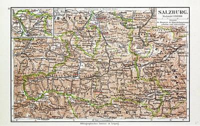 Map Of Salzburg Austria 1899 Poster by Austrian School