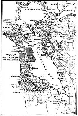 Map Of San Francisco And Thereabout Circa 1905 Poster by California Views Mr Pat Hathaway Archives