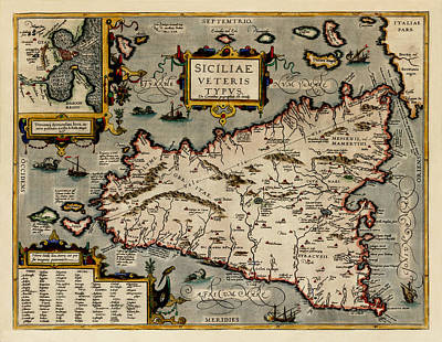 Map Of Sicily 1584 Poster by Andrew Fare