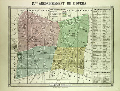 Map Of The 9th Arrondissement De Lopra Paris France Poster by French School