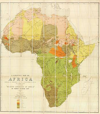 Map Of The Languages Of Africa Poster