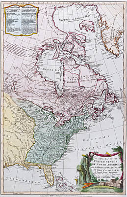 Map Of The Usa And The British Dominions In North America Poster by English School