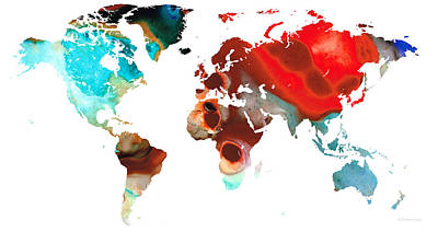 Map Of The World 5 -colorful Abstract Art Poster by Sharon Cummings