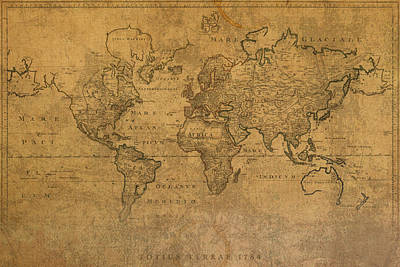 Map Of The World In 1784 Latin Text On Worn Stained Vintage Parchment Poster