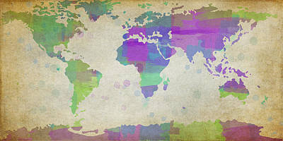 Map Of The World - Plaid Watercolor Splatter Poster by Paulette B Wright