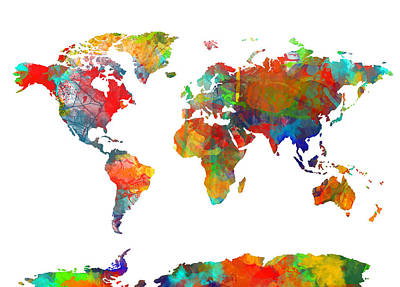 Map Of The World Watercolor Poster