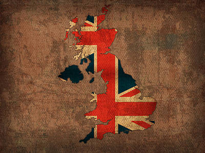 Map Of United Kingdom With Flag Art On Distressed Worn Canvas Poster by Design Turnpike