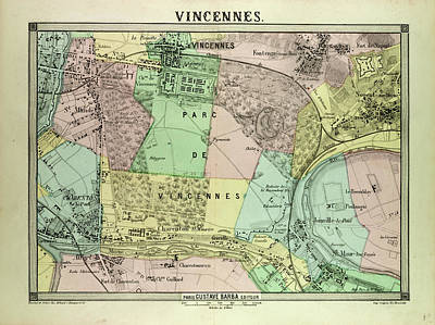 Map Of Vincennes France Poster by French School