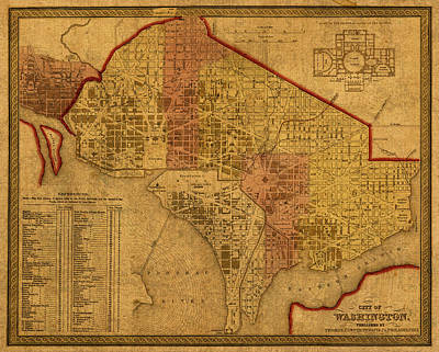 Map Of Washington Dc In 1850 Vintage Old Cartography On Worn Distressed Canvas Poster by Design Turnpike