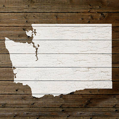 Map Of Washington State Outline White Distressed Paint On Reclaimed Wood Planks Poster