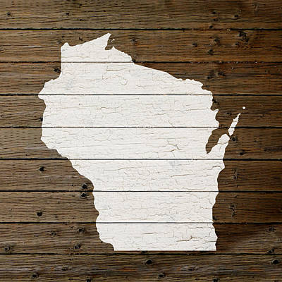 Map Of Wisconsin State Outline White Distressed Paint On Reclaimed Wood Planks Poster by Design Turnpike
