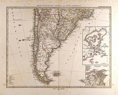 Map South America 1872 Gotha Justus Perthes 1872 Atlas Poster by English School