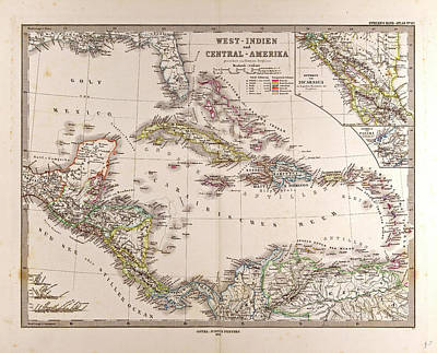 Map West Indies And Central America Gotha Justus Perthes Poster by English School