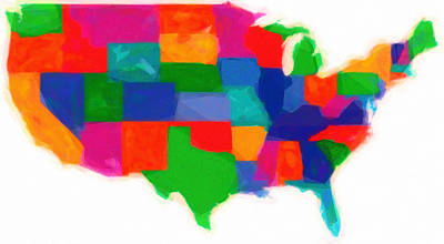 Maps Of Usa With States Modern Watercolor Poster