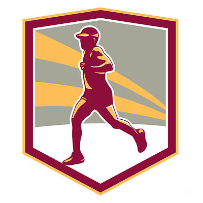 Marathon Runner Shield Retro Poster