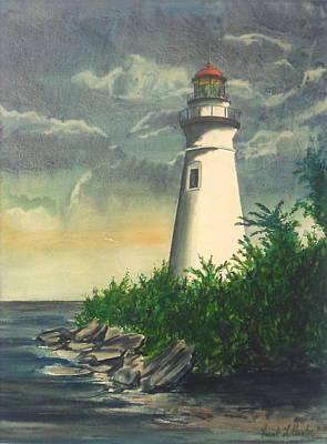 Marblehead Light On Lake Erie Poster by Frank Hunter