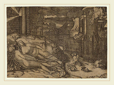 Marcantonio Raimondi Possibly After Raphael Italian Poster