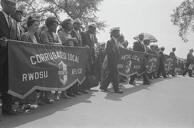 Marchers Carrying Labor Union Banners Poster by Stocktrek Images