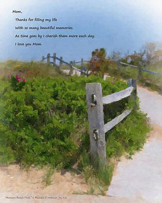 Marconi Beach Path Quote Poster by Michael DArienzo