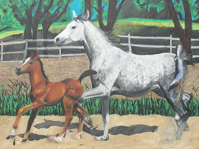 Poster featuring the painting Mare And Colt by Jeanne Fischer