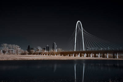 Margaret Hunt Hill Bridge And Dallas Skyline In Infrared Poster