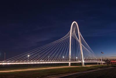 Margaret Hunt Hill Bridge In Dallas At Night Poster