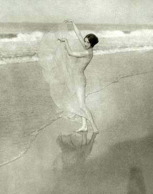 Margaret Severn On A Beach Poster by Arnold Genthe