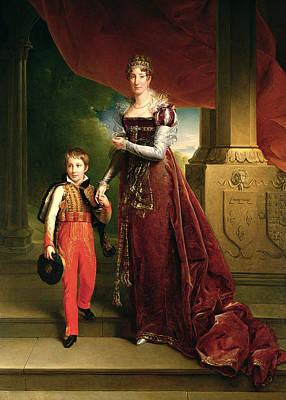 Marie Amelie De Bourbon 1782-1866 Duchess Of Orleans And Her Son, Prince Ferdinand 1810-42 Duke Poster