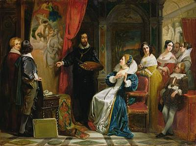 Marie De Medici 1573-1642 Visiting The Studio Of Rubens, 1839 Oil On Canvas Poster by Claude Jacquand