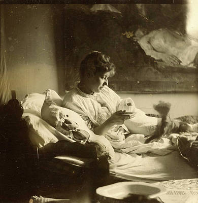 Marie Jordan Dressed Sitting In Bed With A Cup In Her Hands Poster