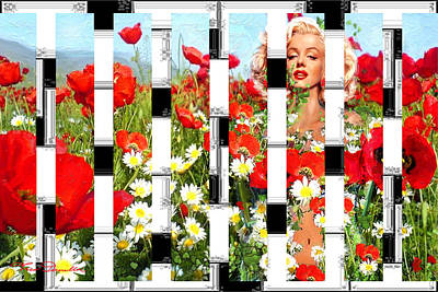 Marilyn In Poppies 2  Poster