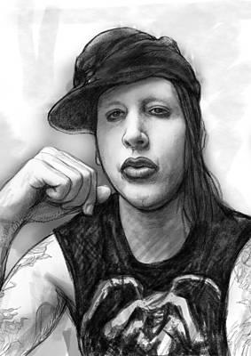 Marilyn Manson Art Drawing Sketch Portrait Poster by Kim Wang