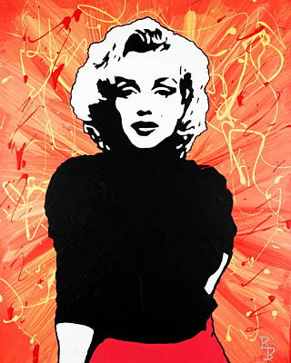 Poster featuring the painting Marilyn Monroe - Red Drip by Bob Baker