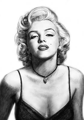 Marilyn Monroe Art Drawing Sketch Portrait Poster by Kim Wang