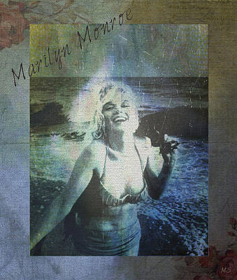Poster featuring the digital art Marilyn Monroe At The Beach by Absinthe Art By Michelle LeAnn Scott