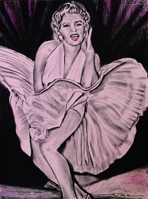 Poster featuring the drawing Marilyn Monroe Pretty In Pink Lite by Eric Dee