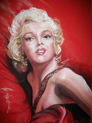 Poster featuring the pastel Marilyn by Peter Suhocke