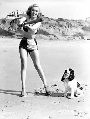 Marilyn Playing Baseball At The Beach Poster