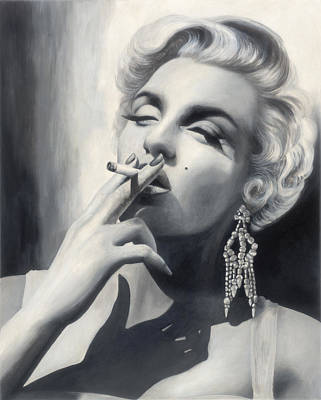 Marilyn Monroe Smoking Poster by Glenda Stevens