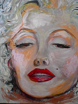 Marilyn With The Red Lips Poster by Jan VonBokel