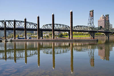 Poster featuring the photograph Marina By Willamette River In Portland Oregon by JPLDesigns