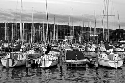 Marina In Black And White Poster by Frozen in Time Fine Art Photography