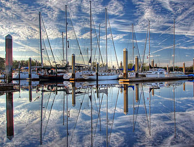 Marina Morning Reflections Poster