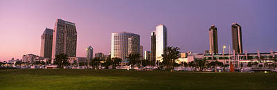 Marina Park And Skyline At Dusk, San Poster by Panoramic Images