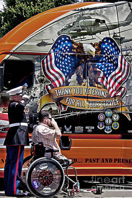 Marine And Wounded Warrior Poster by Tom Gari Gallery-Three-Photography