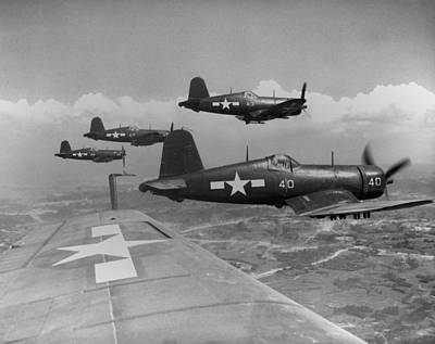 Marine Corsairs Fly On A Rocket Strike Poster by Everett